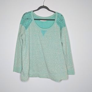 Maurice's Plus Size Teal Lace Crochet Sweater